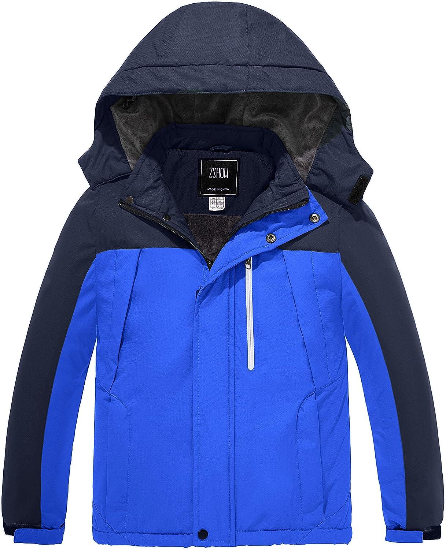 ZSHOW Boys' Waterproof Ski Jacket Windbproof Hooded Mountain Sportswear Outdoor Raincoat: Clothing