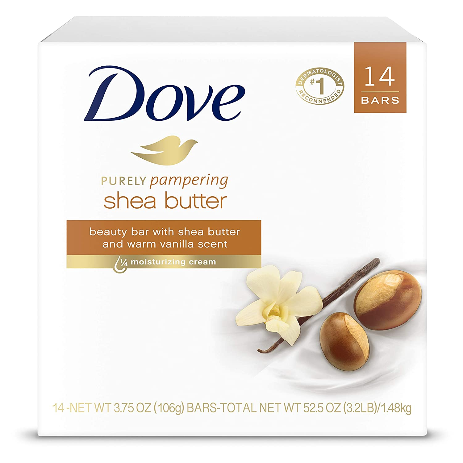 Dove Purely Pampering Beauty Bar for Softer Skin Shea Butter More Moisturizing Than Bar Soap 3.75 oz 14 Bars