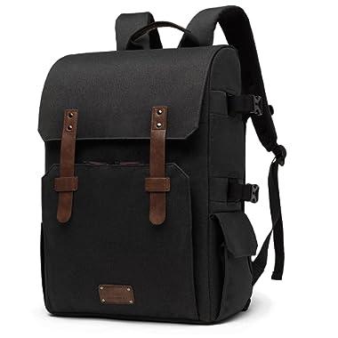 BAGSMART Camera Backpack for SLR/DSLR Cameras & 15.6  Laptop with Waterproof Rain Cover & Tripod Mount, Black.