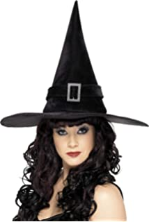 40500c6f3b9 WIZARD HAT FANCY DRESS ACCESSORY BLACK SUEDE FEEL POINTED WITCHES ...