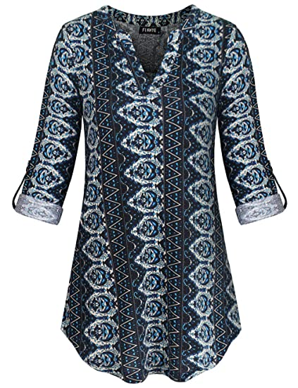 130a446b75 Amazon.com: FINMYE Cuffed Sleeve Blouse, Vertical Stripe Shirts Floral  Pattern Stand up Collar V Neck Aesthetic Tunic Button Decoration Pullover  Chic ...