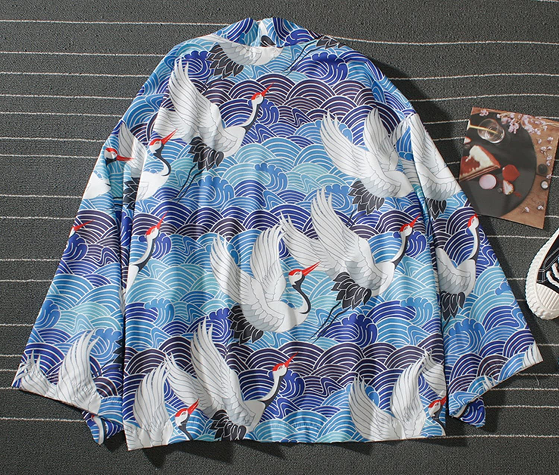 Pizoff Kimono Stile Giapponese Tutto Stampato Vestaglia Leggera con Maniche a 3//4 Unisex