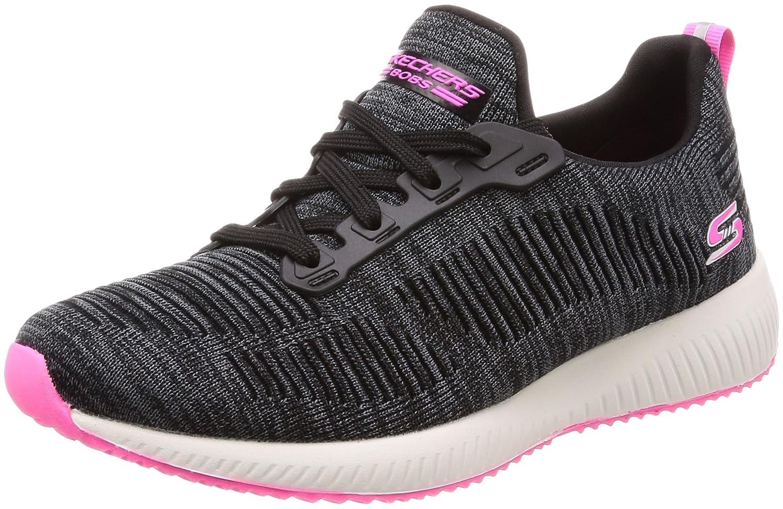 Skechers BOBS from Women's Bobs Squad-Glossy Finish Fashion Sneaker B07894CG8B 9 B(M) US|Black/Pink