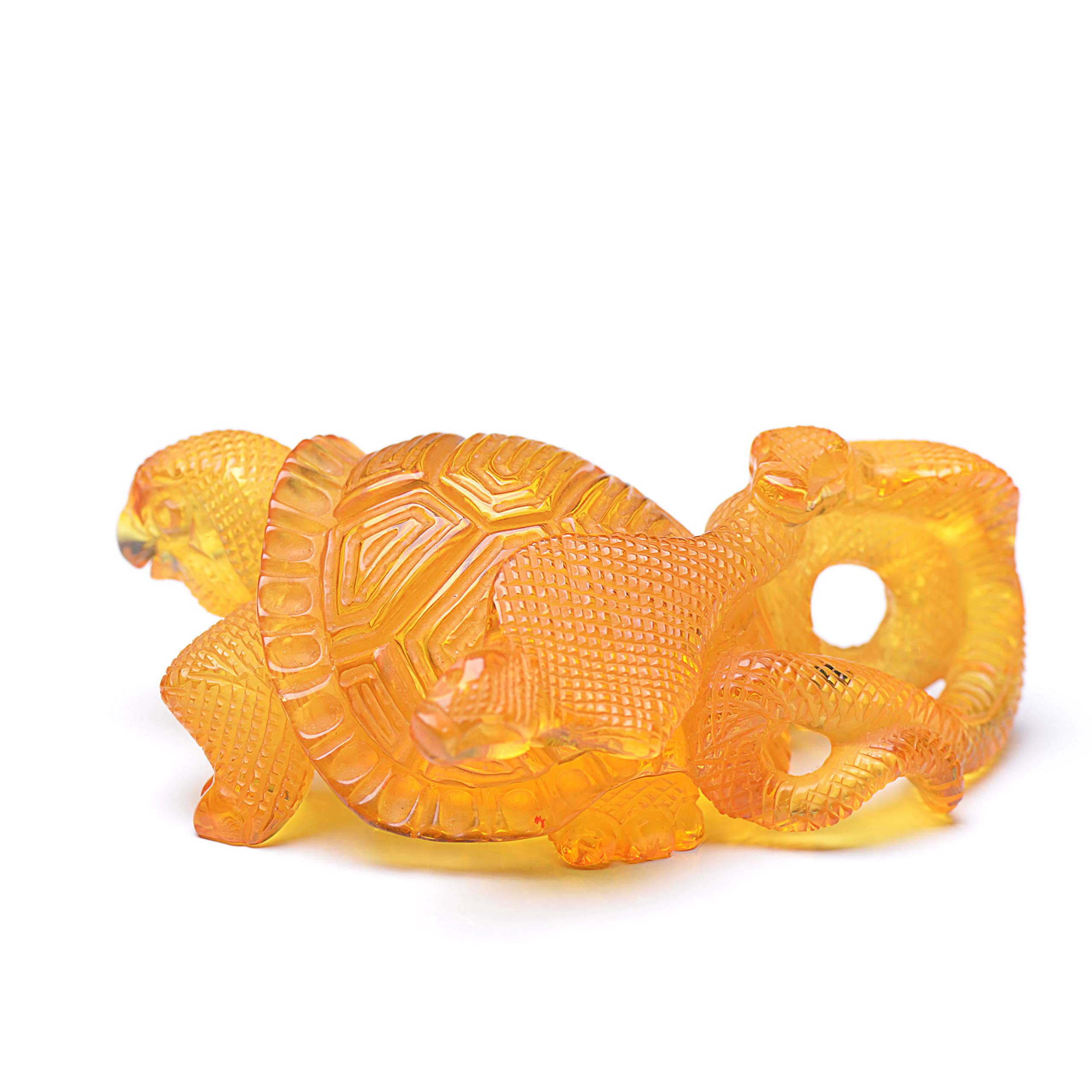 Amber Turtle with 2 Cobras - Amber Collectibles - Handmade Carved Amber Turtle - Amber Carvings - Handmade Baltic Amber Carvings by Genuine Amber