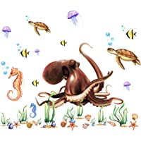 RW-All 3D Ocean and Octopus Wall Sticker DIY Removable Wall Decals Wallpaper Decorative Wall Ocean Animal Sticker for…