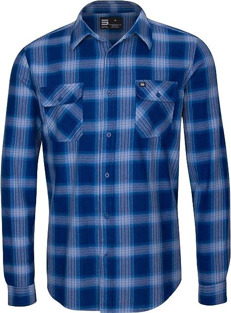 Three Sixty Six Dry Fit Camisa de Franela para Hombre - Manga Larga con Botones de Franela - Camisas de Cuadros para Hombre con Tela Que Absorbe la ...