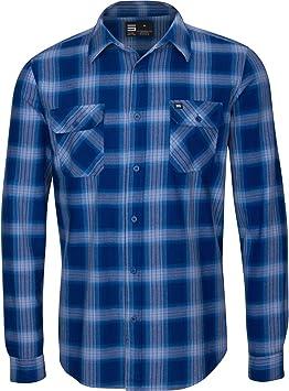 Three Sixty Six Dry Fit Camisa de franela para hombre – manga larga con botones de franela – Camisas de cuadros para hombre con tela que absorbe la humedad, XL, Azul marino: