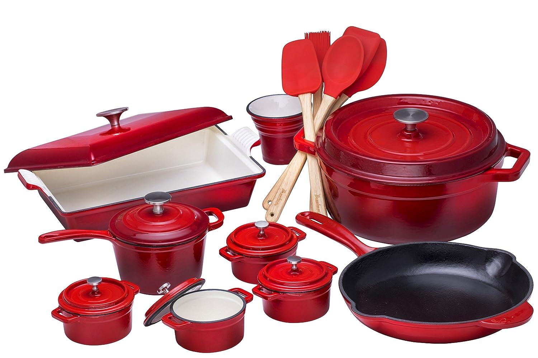 Bruntmor 21 Piece Enameled Cast Iron Cookware Set, Fire Red