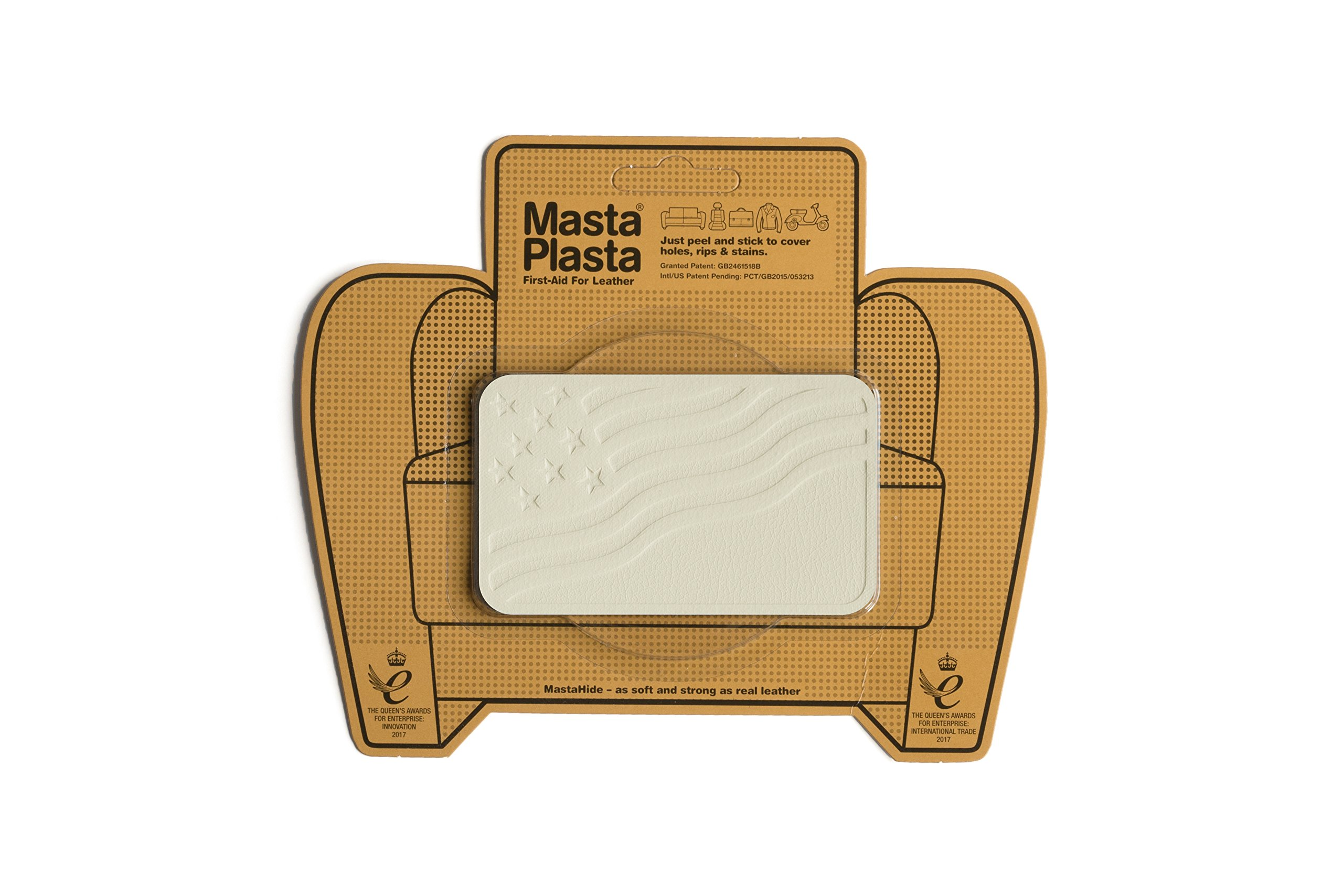 MastaPlasta, Leather Repair Patch, First-aid for Sofas, Car Seats, Handbags, Jackets, etc. Ivory Color, Flag 4-inch by 2.4-inch, Designs Vary