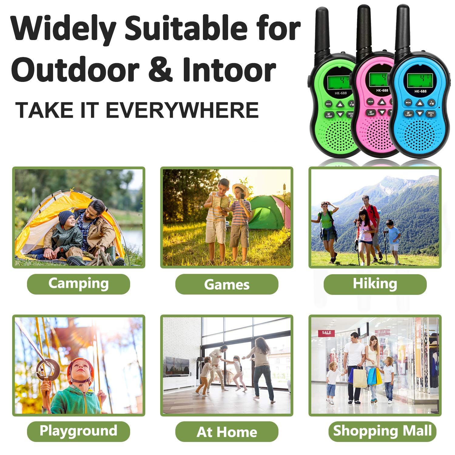6 Pack Kids Walkie Talkies Outdoor Indoor Toys for Boy Girl 22 Channels Two Way Range Up to 3 Miles Flashlight FRS Radio Handheld Walkie Talkie Adventure Camping Game Back to School Birthday Best Gift by Camlinbo (Image #6)
