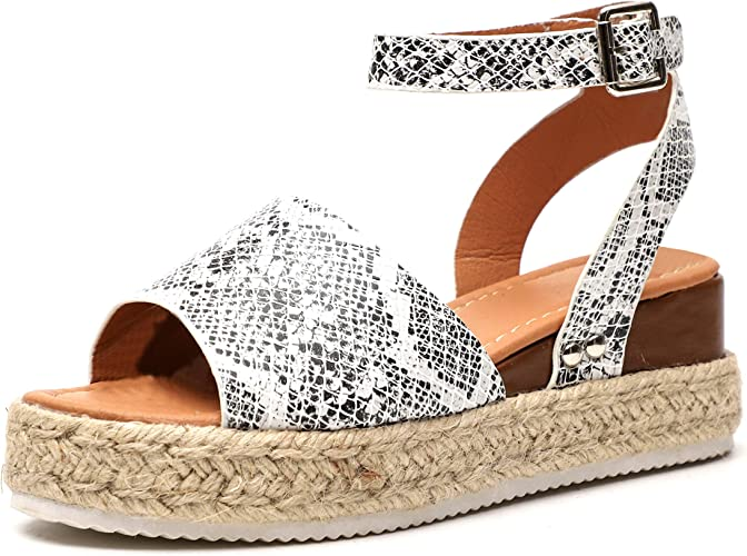Women Flatform Espadrille Sandals Leopard Summer Beach Wedge Peep Toe Shoes Size