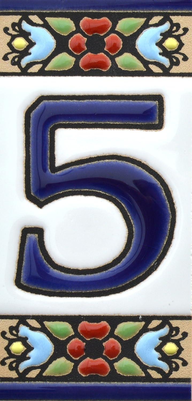 BUCHSTABENB Design FLORES MINI 7,3 cm x 3,5 cm Handgemalte Kordeltechnik fuer Schilder mit Namen Schilder mit Zahlen und Nummern auf Keramikkachel Adressen und Wegweisern