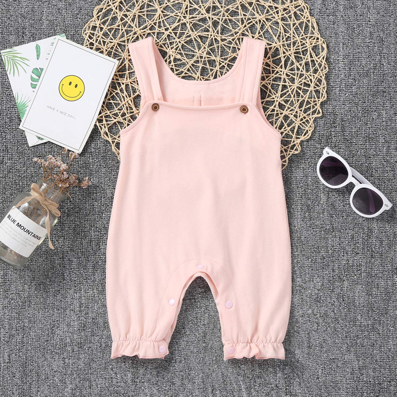 AICSOLL Baby Infant Girl Cotton Jumpsuit Romper Pajamas Clothes Summer Outfits with White Angel Wings
