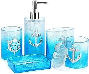 Bathroom Accessories Set, 5 PCS Resin Glass Bath Ensemble Set - Soap Dispenser + Soap Dish + Tumble Cup + Toothbrush Holder + Cotton Canister, Modern Bathroom Home Decor, Countertop Vanity Organizer