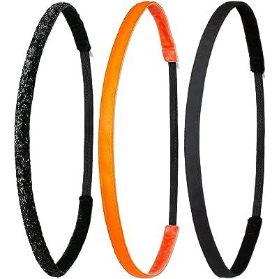 ivybands®   le antidérapant Bandeau cheveux noir   Lot de 3Super Thin cheveux Bandeau cheveux ruban noir paillettes Super Thin, Orange Fluo Super Thin Bandeau cheveux   (1cm Largeur) ivy003ivy261&