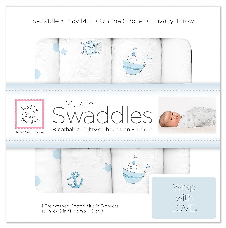 SwaddleDesigns Muslin Ships Ahoy Swaddle Blanket Pack of 4