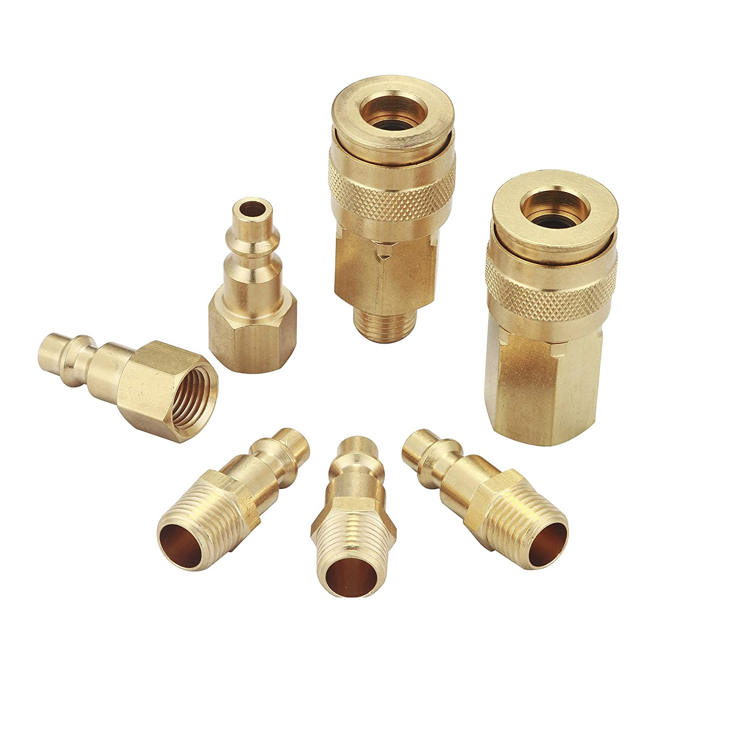 Air hose fittings and Air Coupler: Air Compressor Quick-Connect fnpt female  Coupler & mnpt male Plug Kit (Industrial Type D,1/4-Inch  NPT, Solid