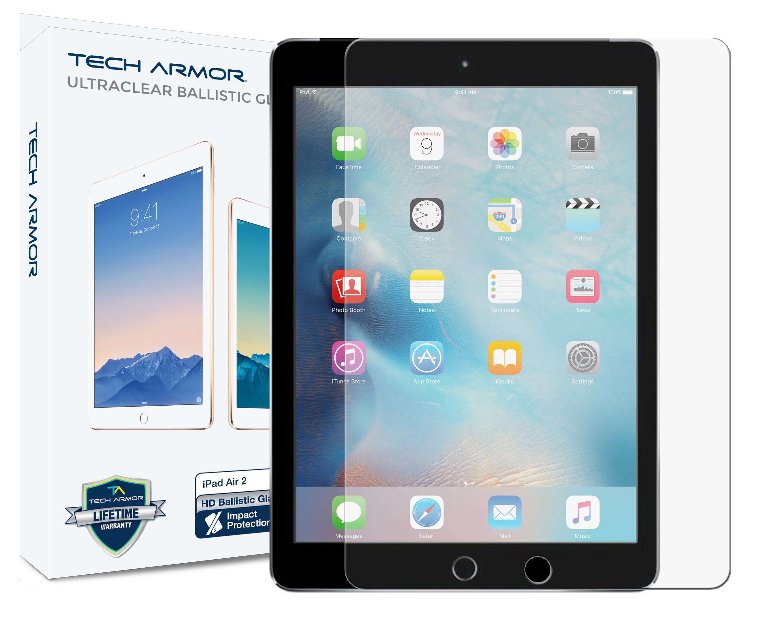 Tech Armor iPad Air Glass Screen Protector, Premium Ballistic Glass Apple iPad Air/Air 2 / NEW iPad 9.7 (2017) Screen Protectors [1]
