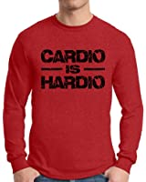Awkward Styles Men's Cardio Is Hardio Long Sleeve T shirt Tops Black Lightning GYM