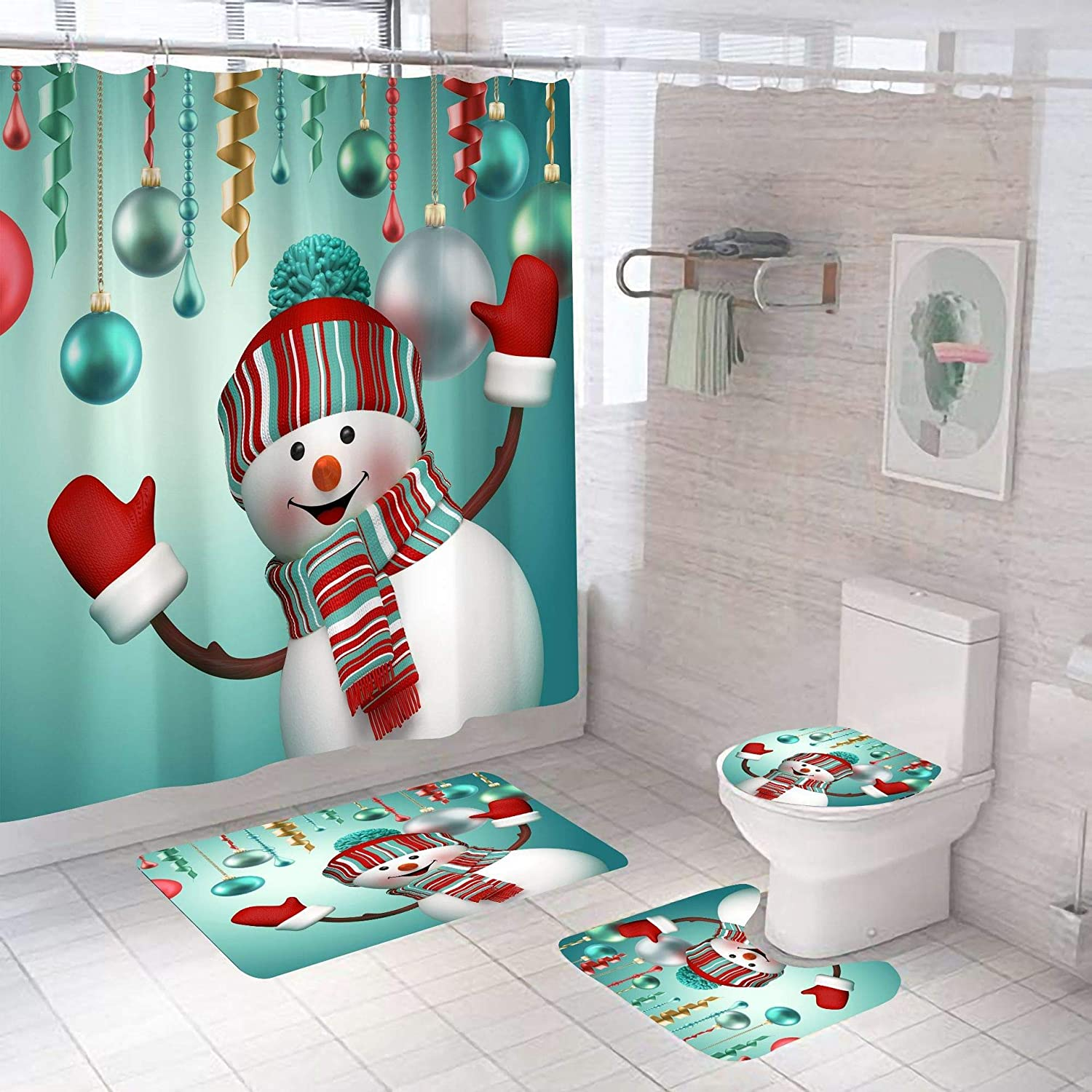 4 PCS Merry Christmas Shower Curtain Sets with Non-Slip Rugs and Toilet Lid Cover Xmas Snowman Bath Decor Machine Washable Shower Curtains 72