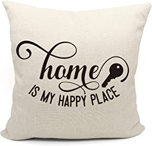 Mancheng-zi Home is My Happy Place Throw Pillow Case, Housewarming Gifts Family Room Decor, New Home Decor, 18 x 18 Inch Farmhouse Decorative Cotton Linen Cushion Cover for Sofa Couch Bed