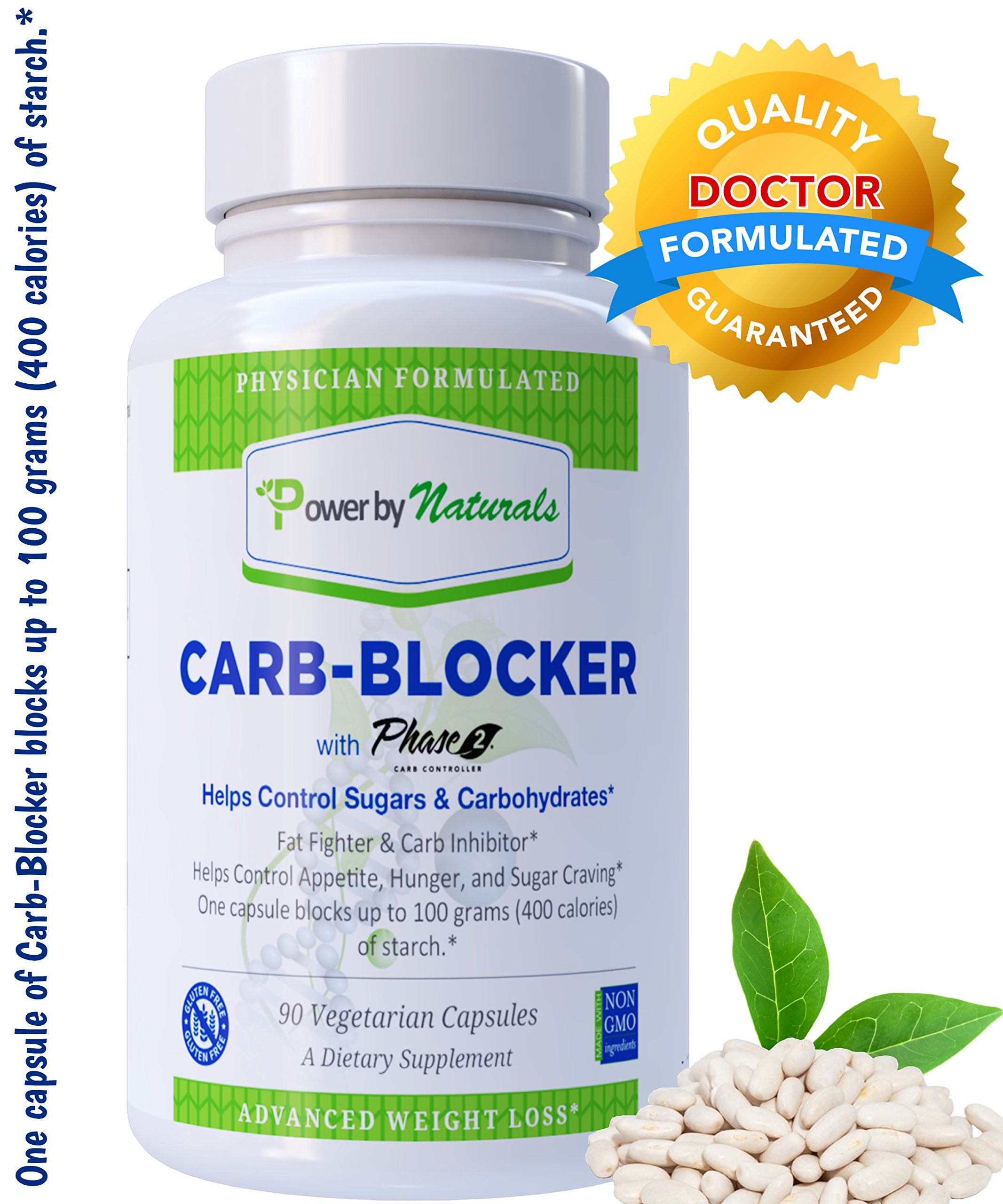 PbyN- Dr. Formulated Carb Blocker with Phase 2 Carb Controller (Chromium, White Kidney Bean Extract, Gymnema) for Healthy Weight Loss, Fat Fighter, Block Carbohydrates, Appetite Suppressant - 90 ct
