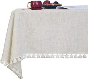 Deconovo Sqaure Solid Table Cover Water Resistant Faux Linen Tassel Tablecloth for Outdoor Tables 55x55 Inch Flaxen