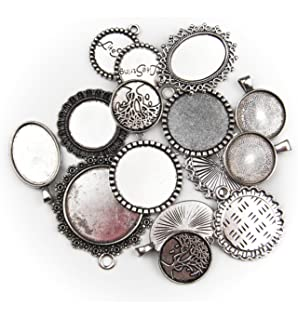 Amazon 100 grams mixed picture frame charm pendants 35 40 pcs all in one 15pcs mixed cabochon frame setting tray pendant for diy jewelry making silver aloadofball Gallery
