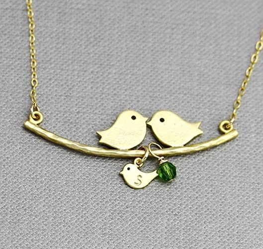 Amazon mom dad and baby bird necklace personalized birthstone mom dad and baby bird necklace personalized birthstone charm family necklace multiple child initial mozeypictures Gallery