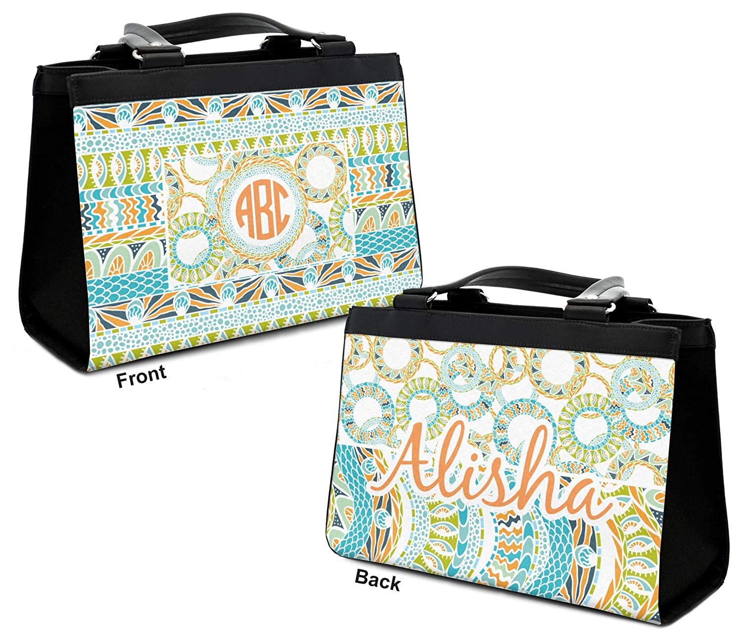 Personalized Teal Ribbons /& Labels Classic Tote Purse w//Leather Trim Front /& Back