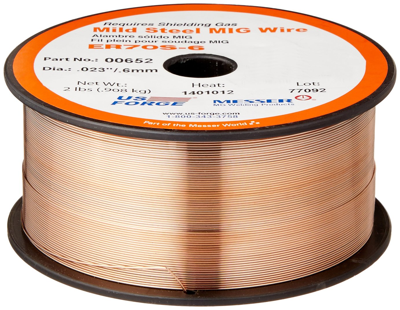 US Forge Welding Solid Mild Steel MIG Wire .023 2-Pound Spool #00652