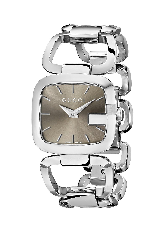 24e6bc5d0b8 Amazon.com  Gucci G-Gucci Brown Dial Stainless Steel Quartz Ladies Watch  YA125402  Gucci  Watches