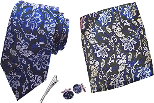 MENDENG Mens Purple Paisley Formal Necktie Tie Clip Pocket Square Cufflinks Set