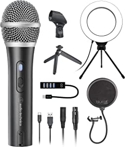 Audio-Technica ATR2100X-USB Dynamic Microphone for Podcasting, Voiceover, and Home Studio Recording Bundle with Blucoil Pop Filter Windscreen, 6
