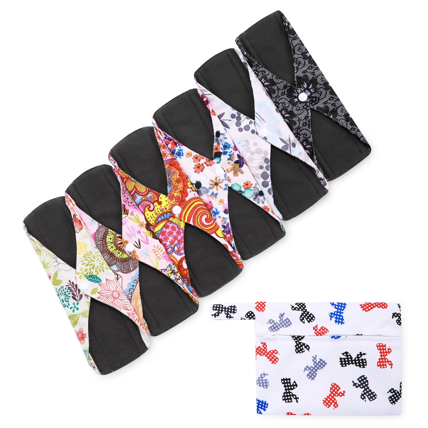 Ranferry Reusable Menstrual Pads ( Pack of 6,Large ) with Bamboo Charcoal Layer,Tampon and Ladies Panties for Antibacterial Protection, Sanitary Napkins for Feminine Period Care