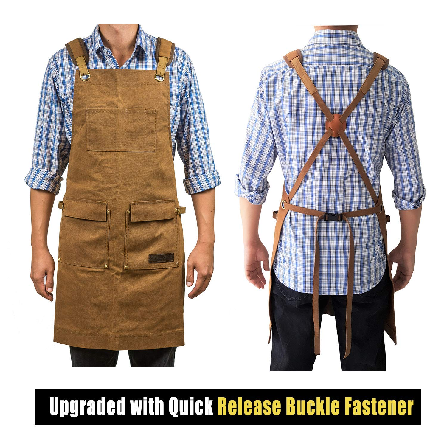 Luxury Waxed Canvas Shop Apron | Heavy Duty Work Apron for Men & Women with Pocket & Cross-Back Straps | Adjustable Tool Apron Up To XXL | Long, Thick, Water Resistant Workshop Apron in Gift Box by GIDABRAND (Image #6)