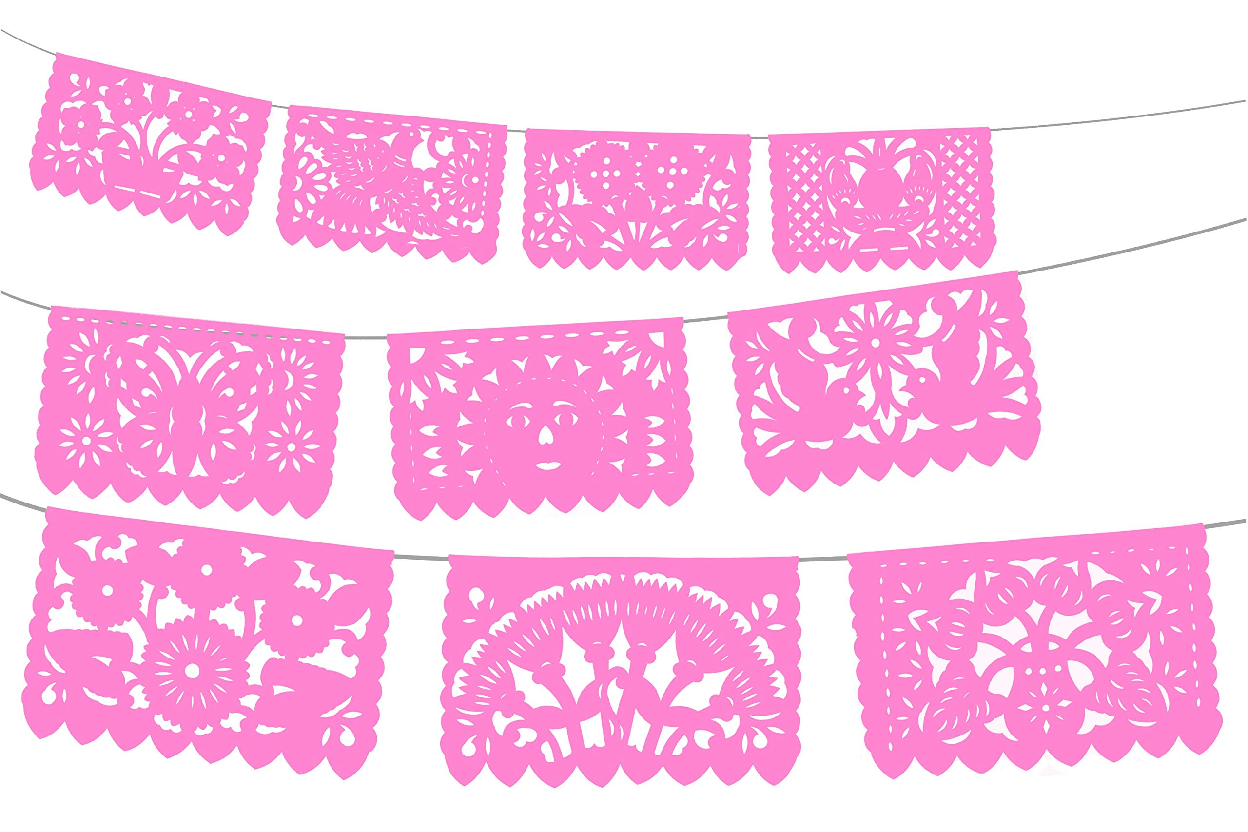 Mexican Party Decorations, Papel Picado Banner, Over 60 feet Long, Light Pink Tissue Paper Garland, Mexican Decor, Weddings, Quinceneras, Birthdays, Fiesta Party Supplies, Cinco de Mayo, WS2000