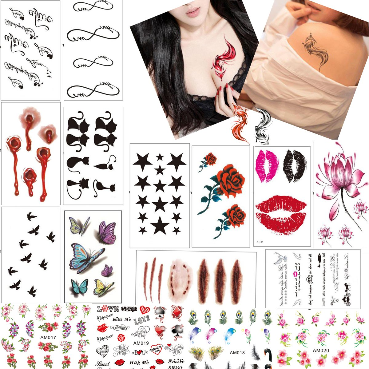 14PCS Waterproof Temporary Tattoos Body Art Tattoo Sexy Rose Flower Butterfly Infinity Love Symbol Fox Cat Lip Star Bird Scar Feather for Women Teens Girls 4PC Nail Art Stickers (LOHSET005A)