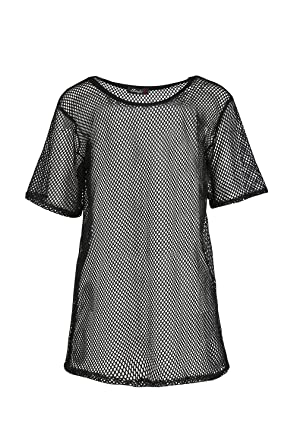 Womens Lace Crochet Baggy Fishnet Top Ladies Stretchy Knitted Net Casual T Shirt