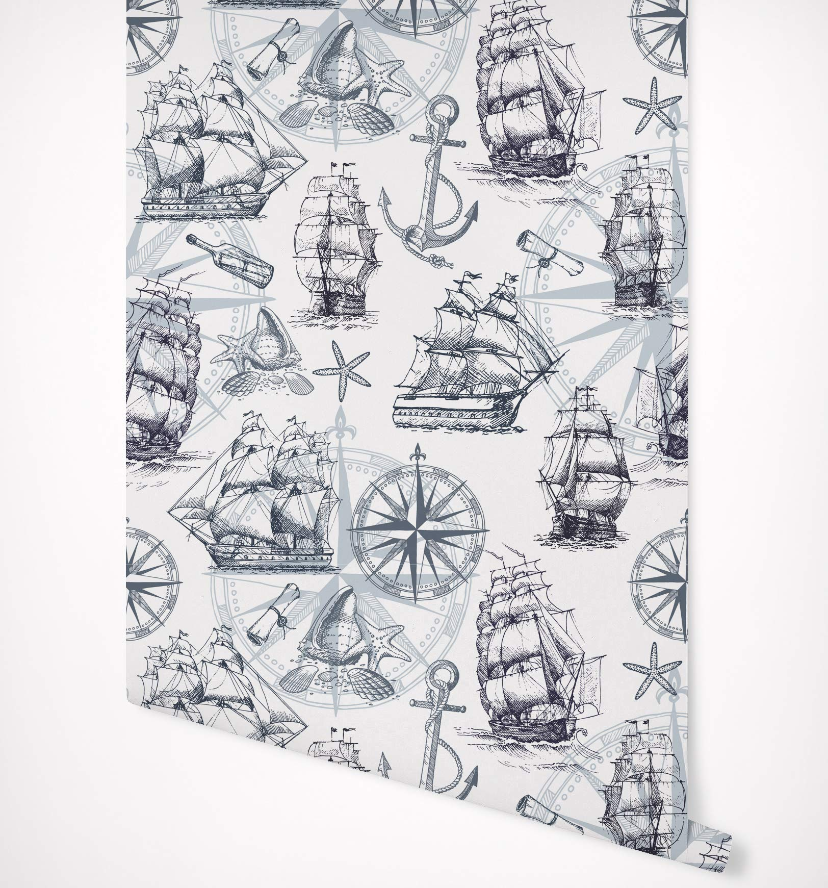 Kraska Peel and Stick Wallpaper Nautical Marine Ship Compass Anchor, Removable Wallpaper Self Adhesive Premium Quality Multi Purpose - Wall Decor for Home Nursery Kitchen Bathroom Office - 24'' x 96''