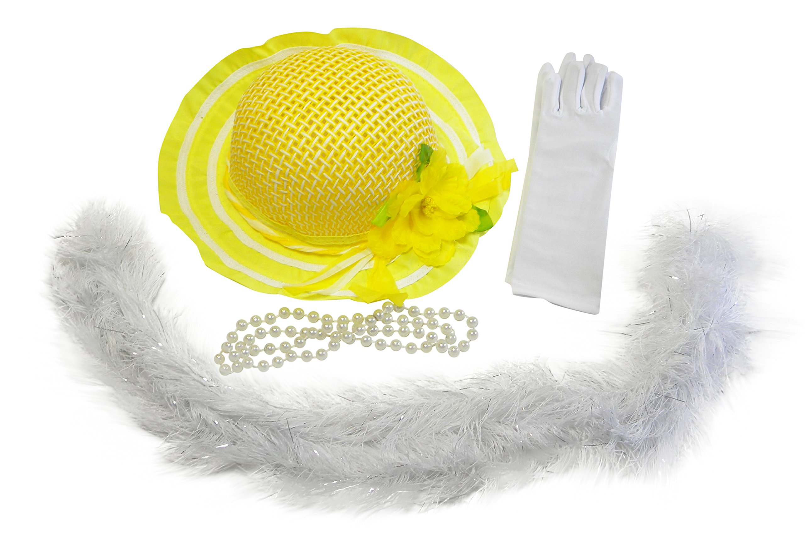 Butterfly Twinkles Girls Tea Party Dress Up Play Set with Yellow Sun Hat, Boa, Plastic Pearl Necklace, and White Gloves,