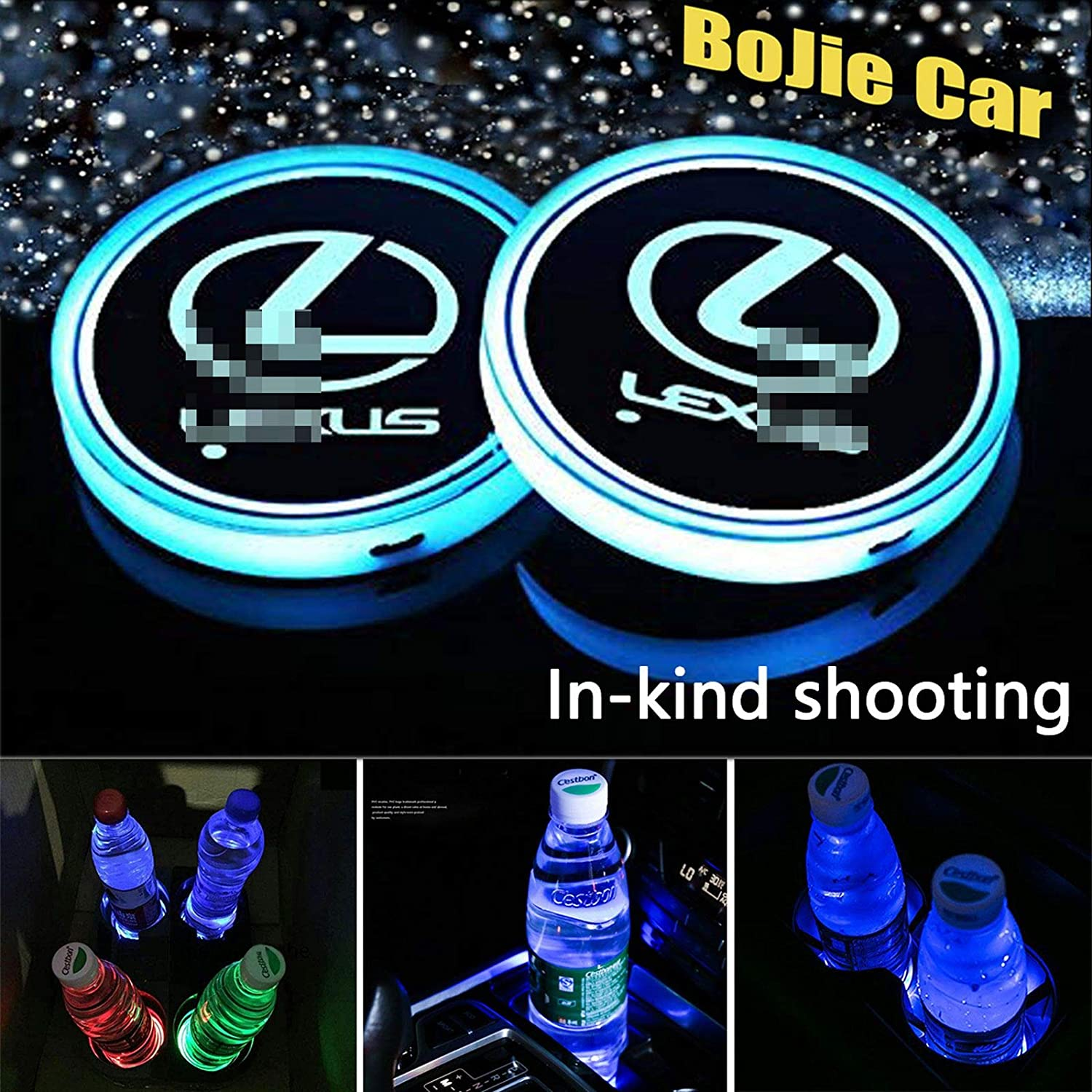 Heart Horse LED Cup Holder Lights Car Logo Coaster with 7 Colors Changing USB Charging Mat Luminescent Cup Pad Interior Atmosphere Lamp Decoration Light for BMW Accessories 2 PCS, Waterproof