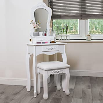 Weiß Schminktisch Mit Spiegel U0026 Hocker. 3 Schubladen Mit Muster,.  Schlafzimmer Schreibtisch.
