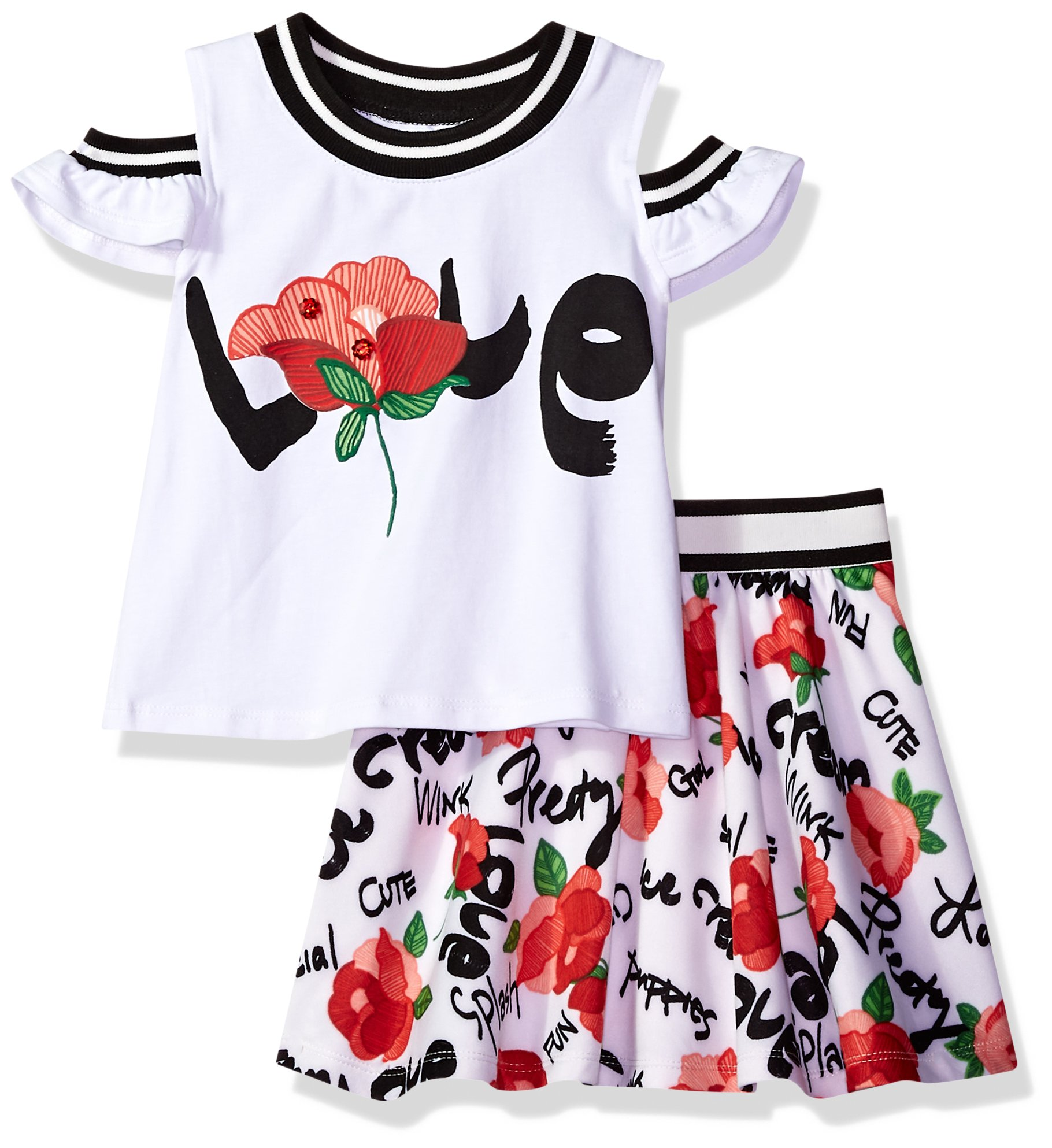 Bonnie Jean Little Girls' Top and Skirt Set, Love, 5