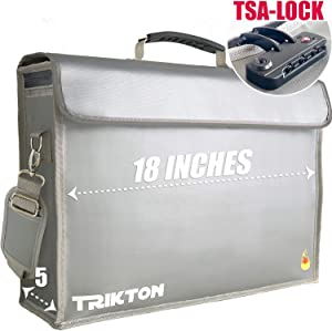 TRIKTON Super Extra Large 18x13x5 Fireproof Safe Bag for Documents with Lock TSA, Full Opening Zipper, Holds Legal Size Files, XXL, Visible in The Dark, Lock Box for Documents, Fire Water Resistant