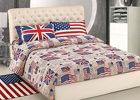 Copriletto Singolo Bandiera Inglese.Capitancasa Parure Copripiumino Bandiera Singolo Bandiera Amazon It Casa E Cucina