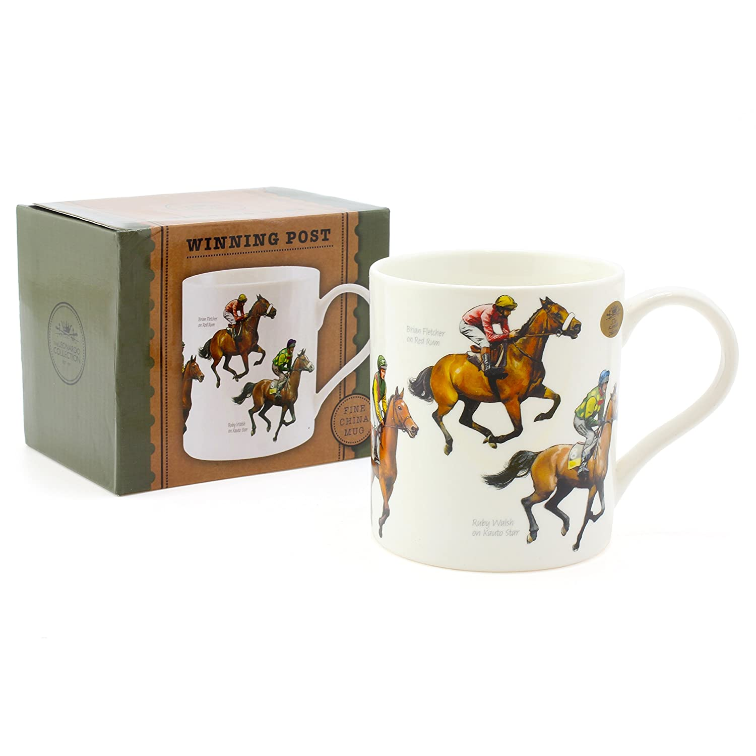 Famous Horses /& Jockeys Perfect Cup for Fans of Horse Racing The Leonardo Collection Winning Post Fine China Windsor Mug Horse Racing Design
