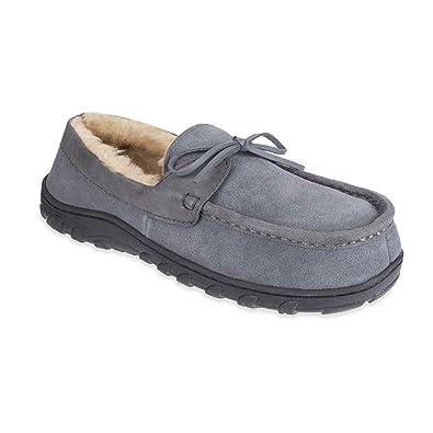 f1ea904c906 Chaps Men s Slipper House Shoe Moccasin Memory Foam Suede Indoor Outdoor  Nonslip Sole