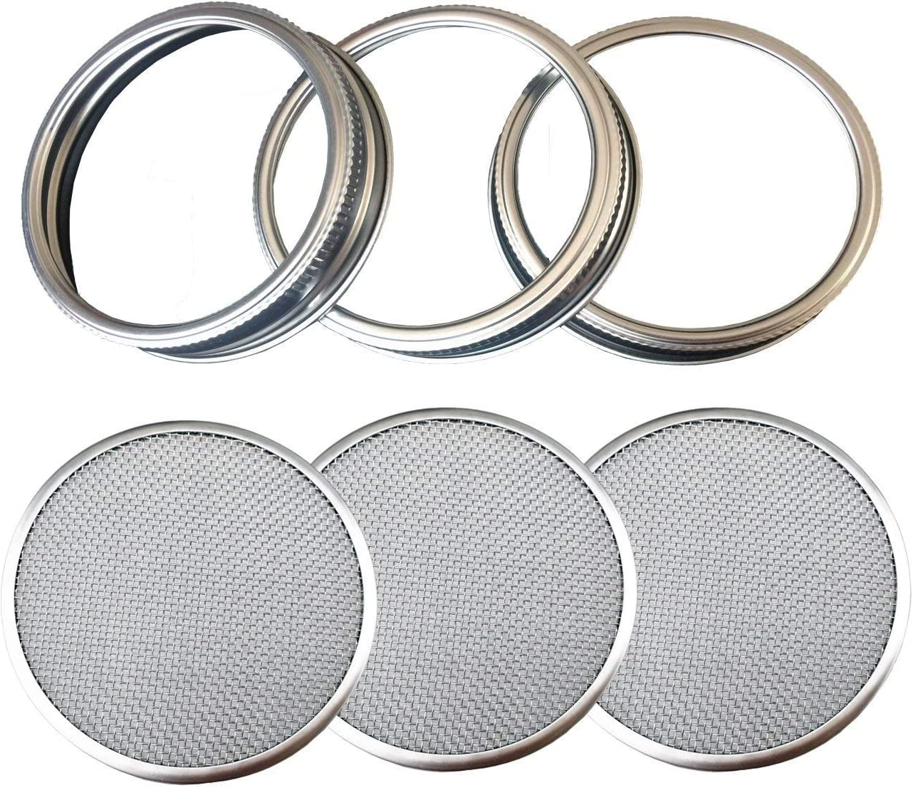 THINKCHANCES Food Safe,BPA Free Rust Resistant Stainless Steel Sprouting Screen Lids and Bands for Wide Mouth Mason Ball Canning Jars for Growing Organic Sprout Seeds at Your Home (Wide Mouth, 3 Pack)