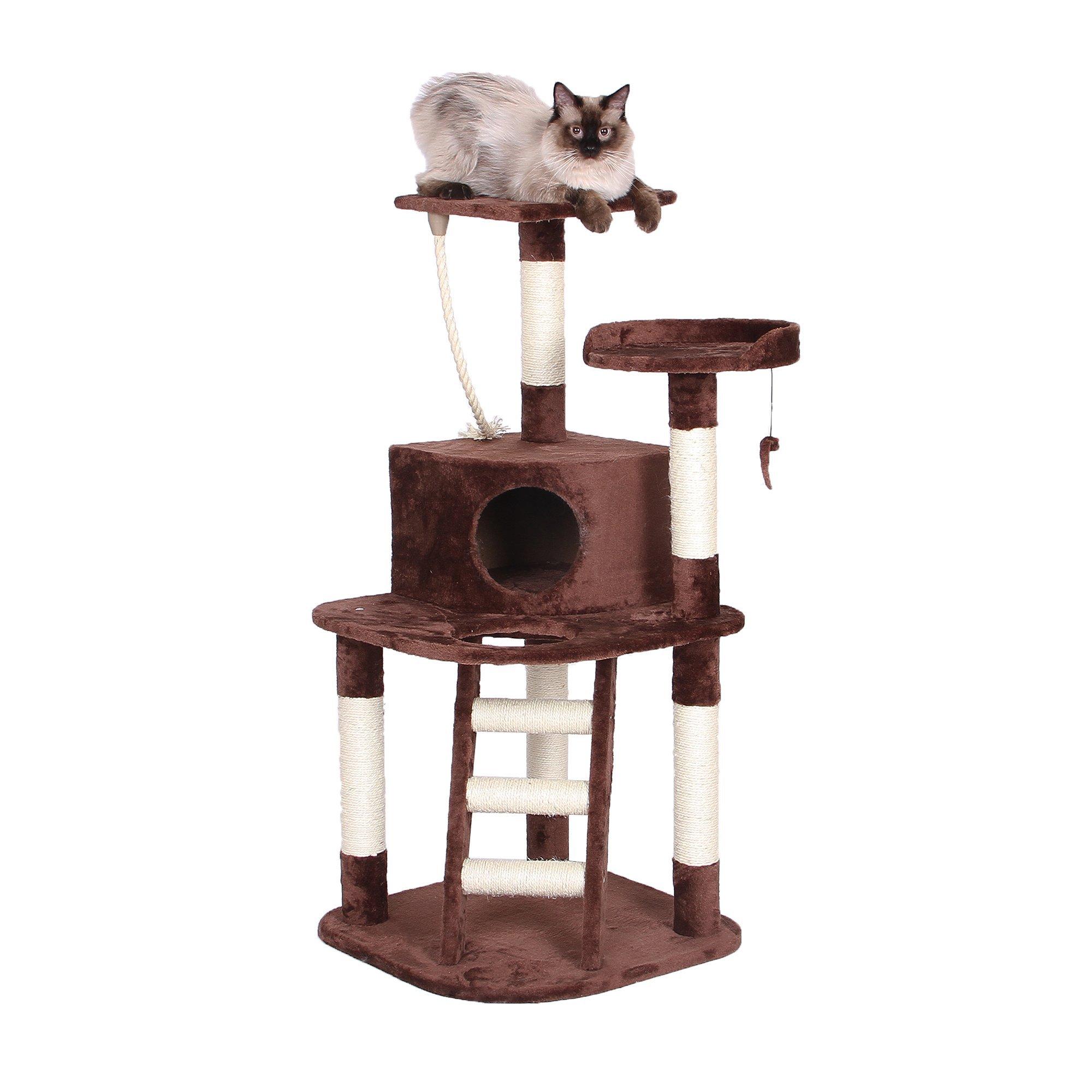 Catry Cat Tree Condo, 20'' L x 20'' W x 47'' H, Chocolate